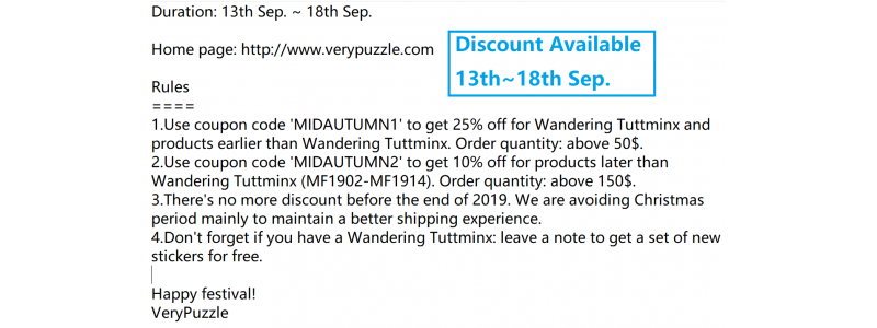 Mid-autumn discount available
